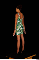 Luna Corazon dressed green patterned dress standing whole body 0004.jpg