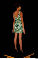 Luna Corazon dressed green patterned dress standing whole body 0006.jpg
