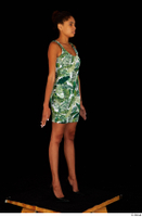 Luna Corazon dressed green patterned dress standing whole body 0008.jpg