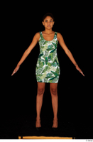 Luna Corazon dressed green patterned dress standing whole body 0009.jpg
