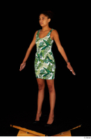 Luna Corazon dressed green patterned dress standing whole body 0010.jpg
