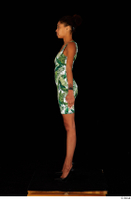 Luna Corazon dressed green patterned dress standing whole body 0011.jpg