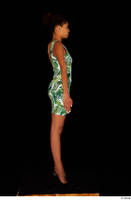 Luna Corazon dressed green patterned dress standing whole body 0015.jpg