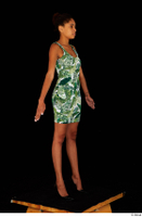 Luna Corazon dressed green patterned dress standing whole body 0016.jpg