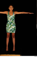 Luna Corazon dressed green patterned dress standing t-pose whole body 0001.jpg