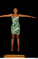 Luna Corazon dressed green patterned dress standing t-pose whole body 0009.jpg
