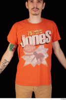 Falcon White casual orange t shirt upper body 0001.jpg
