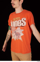 Falcon White casual orange t shirt upper body 0002.jpg