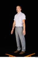 Oris brown shoes business dressed grey trousers standing white shirt whole body 0002.jpg