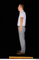 Oris brown shoes business dressed grey trousers standing white shirt whole body 0011.jpg