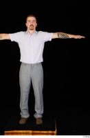 Oris brown shoes business dressed grey trousers standing t-pose white shirt whole body 0001.jpg