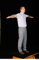 Oris brown shoes business dressed grey trousers standing t-pose white shirt whole body 0008.jpg