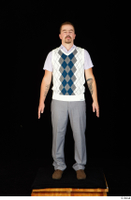 Oris brown shoes business dressed grey trousers standing vest white shirt whole body 0001.jpg