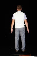 Oris brown shoes business dressed grey trousers standing vest white shirt whole body 0005.jpg