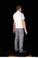 Oris brown shoes business dressed grey trousers standing vest white shirt whole body 0006.jpg