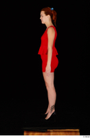 Charlie Red black high heels business dressed red dress standing whole body 0003.jpg