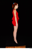 Charlie Red black high heels business dressed red dress standing whole body 0007.jpg