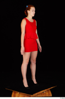 Charlie Red black high heels business dressed red dress standing whole body 0008.jpg