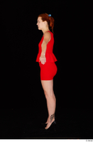 Charlie Red black high heels business dressed red dress standing whole body 0011.jpg