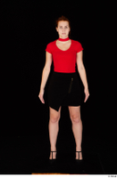 Charlie Red black high heels black skirt business dressed red turtleneck standing t shirt whole body 0001.jpg