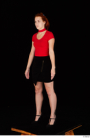 Charlie Red black high heels black skirt business dressed red turtleneck standing t shirt whole body 0002.jpg