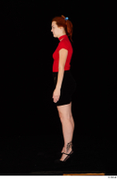 Charlie Red black high heels black skirt business dressed red turtleneck standing t shirt whole body 0003.jpg