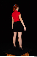 Charlie Red black high heels black skirt business dressed red turtleneck standing t shirt whole body 0006.jpg