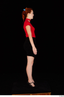 Charlie Red black high heels black skirt business dressed red turtleneck standing t shirt whole body 0007.jpg