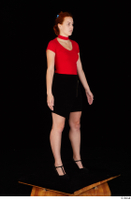 Charlie Red black high heels black skirt business dressed red turtleneck standing t shirt whole body 0008.jpg