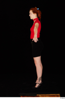 Charlie Red black high heels black skirt business dressed red turtleneck standing t shirt whole body 0011.jpg