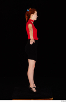 Charlie Red black high heels black skirt business dressed red turtleneck standing t shirt whole body 0015.jpg