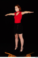 Charlie Red black high heels black skirt business dressed red turtleneck standing t shirt t-pose whole body 0002.jpg