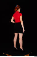 Charlie Red black high heels black skirt business dressed red turtleneck standing t shirt whole body 0022.jpg