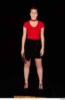 Charlie Red black high heels black skirt business dressed red turtleneck standing t shirt whole body 0025.jpg