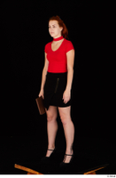Charlie Red black high heels black skirt business dressed red turtleneck standing t shirt whole body 0026.jpg