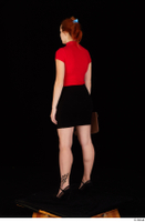 Charlie Red black high heels black skirt business dressed red turtleneck standing t shirt whole body 0028.jpg