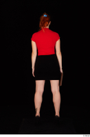 Charlie Red black high heels black skirt business dressed red turtleneck standing t shirt whole body 0029.jpg