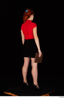 Charlie Red black high heels black skirt business dressed red turtleneck standing t shirt whole body 0030.jpg