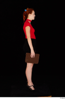Charlie Red black high heels black skirt business dressed red turtleneck standing t shirt whole body 0031.jpg