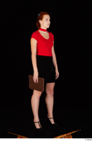 Charlie Red black high heels black skirt business dressed red turtleneck standing t shirt whole body 0032.jpg