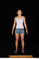 Shrima black sandals dressed jeans shorts pink top standing whole body 0001.jpg