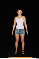 Shrima black sandals dressed jeans shorts pink top standing whole body 0002.jpg