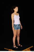 Shrima black sandals dressed jeans shorts pink top standing whole body 0009.jpg