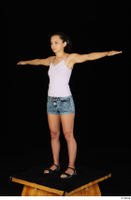 Shrima black sandals dressed jeans shorts pink top standing t-pose whole body 0002.jpg