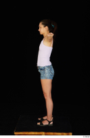 Shrima black sandals dressed jeans shorts pink top standing t-pose whole body 0003.jpg