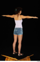 Shrima black sandals dressed jeans shorts pink top standing t-pose whole body 0006.jpg