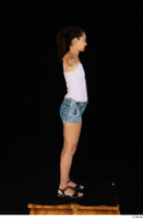 Shrima black sandals dressed jeans shorts pink top standing t-pose whole body 0007.jpg