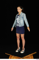 Shrima blue dress dressed jeans jacket standing white sandals whole body 0002.jpg