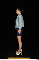 Shrima blue dress dressed jeans jacket standing white sandals whole body 0003.jpg