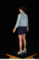 Shrima blue dress dressed jeans jacket standing white sandals whole body 0004.jpg